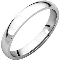 A 3mm thin comfort wedding band in 14k gold.