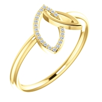 Interlocking open marquise shapes, one in diamond and one in solid, 14k yellow gold in this diamond fashion ring.