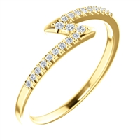 This bold 14k yellow gold diamond zig zag ring is a stunning showstopper filled with round brilliant diamonds that total about 0.12 carats in diamonds.
