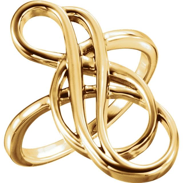 free form ring  7K Yellow Gold Freeform Ring