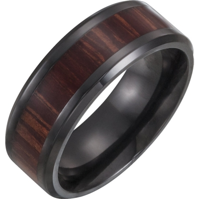 Titanium and Ash wood men's wedding band.