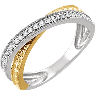 This daring 14k two tone criss cross ring features round brilliant diamonds over white and yellow gold.
