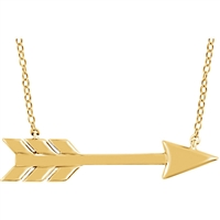 14K Yellow Gold Flying Arrow Necklace
