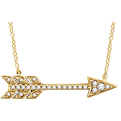Flying straight to the top of you wardrobe, this 14k gold and diamond arrow necklace is simple and stunning, available in your choice of color.