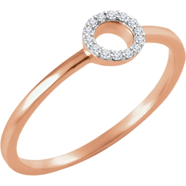 14K Rose Gold Circle Stackable Diamond Ring