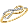This diamond infinity ring showcases round diamonds in an elegant and simple setting in 14k gold.