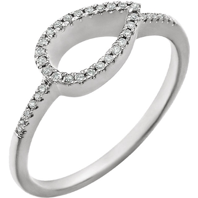 A 14k white gold ring with delicate diamond touches that add up to 0.10 carats of shine wrap around a delicious open pear shape in this diamond fashion ring.