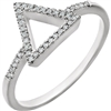 A gorgeous diamond triangle in 14k white gold, featuring 0.10 carats of diamonds.
