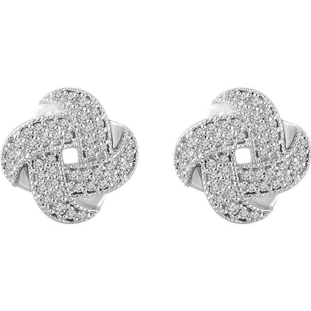 14K White Gold Diamond Knot Stud Earrings