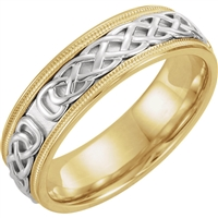 Men's Celtic Wedding Band in 14K Two Tone Gold.