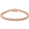 This 14k rose gold diamond tennis bracelet comes stacked with 1 full carat of round brilliant diamonds shimmering on your wrist.