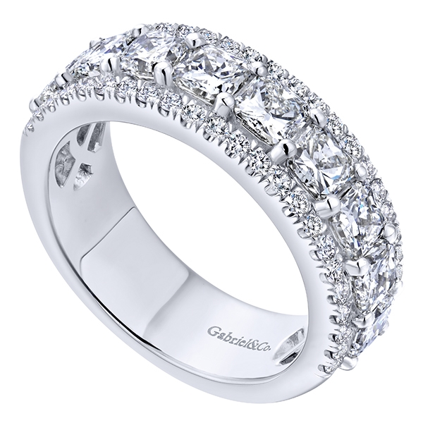 cushion ct stone classic platinum five band ring bands p wedding tw cut diamond in