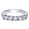 This 5 stone diamond wedding band features 3/4 carats of diamond shine set against the sleek 14k white gold setting, giving this diamond wedding band its contemporary appeal.
