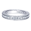 The texture in this 14k white gold diamond wedding band features 0.85 carats in a luscious setting.