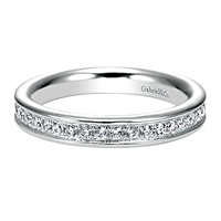 This beautiful and elegant diamond wedding band features one half carats of diamond shine with a shimmering white gold edge in 14k white gold.