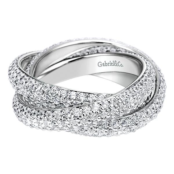 14k White Gold Triple Rolling Diamond Ring