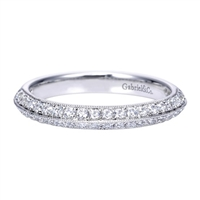 Double sides of round diamonds stack against each other to create this well designed, high quality 14k white gold diamond wedding band.