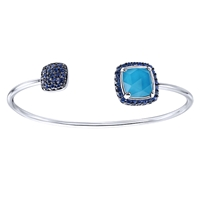 This funky and cool sterling silver cuff bracelet features 3.77 carats in colorful blue stones and is a favorite of fashionista's everywhere!