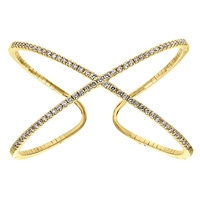 Shimmering diamonds glisten in this 14k yellow gold diamond cuff in an x shape.