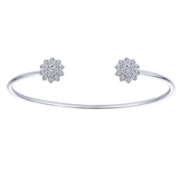 This double flower open cuff features twin diamond coated flowers, giving this unique cuff its glitter!