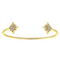 This 14k yellow gold flexible open cuff features round brilliant diamonds and has an elegant and cosmic charm with star diamonds!