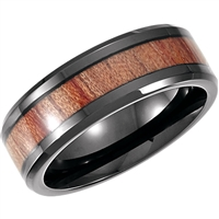 An elegant cobalt and rosewood mens wedding band.