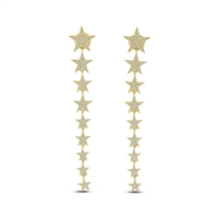 These 14k yellow gold diamond star earrings feature 9 descending stars set with round brilliant diamonds.