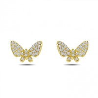 This 14k yellow gold pair of diamond butterfly earrings feature diamond accents.
