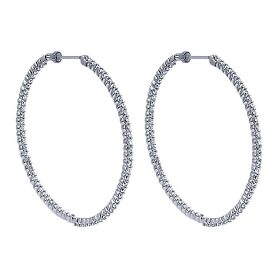14K White Gold and 4 carats of Diamonds in theis 14k Whie Gold In & Out Diamond Hoop Set