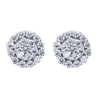 This 14k white gold pair of diamond cluster stud earrings features over three quarter carats of round brilliant diamonds in its center and halo.