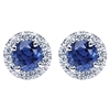 This pair of 14k white gold sapphire and diamond stud earrings features 1 carat of sapphires and nearly one quarter carats of round brilliant diamonds.
