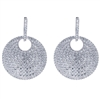 Floating discs of round diamonds totaling over 4.50 carats of diamonds make this pair of 18k white gold earrings sparkle!