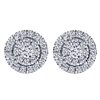 These 14k white gold cluster diamond stud earrings are surrounded by a halo to wrap it all up.