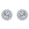Brilliant diamond studs with one quarter carats of diamonds shimmer in this cleverly styled 14k white gold pair of earrings.