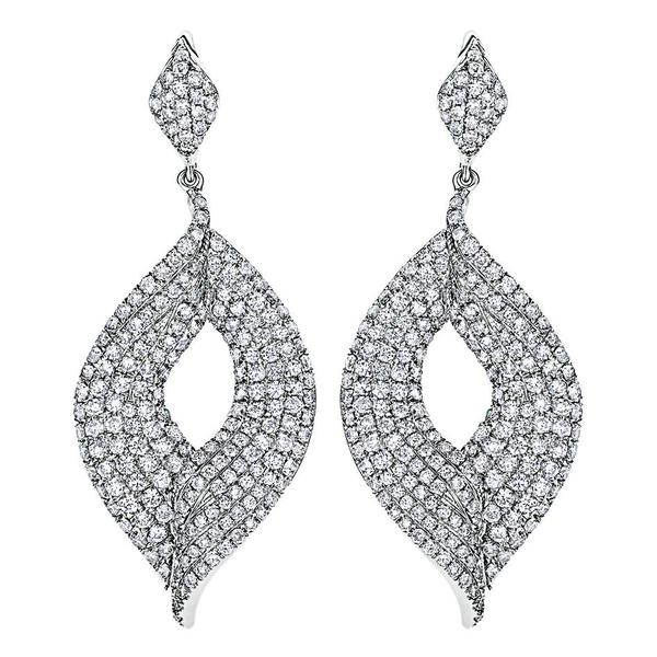 These Diamond Leaf Earrings Drop Delicately And Shine With Almost 4 Carats Of Round Diamonds