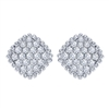 This beaded 14k white gold diamond cluster stud earrings with one third carats of round brilliant diamonds features diamond rows that glisten beautifully from your ears.
