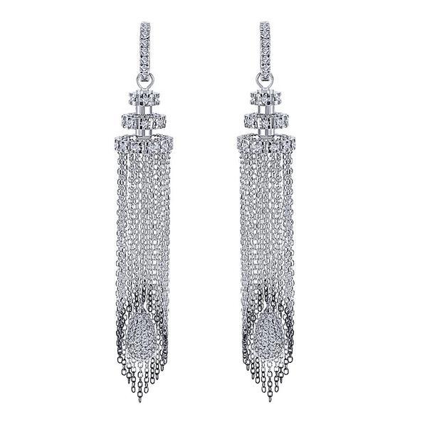 18K White Gold Diamond Chandelier Drop Earrings