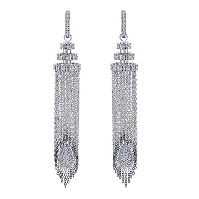 These hanging chandelier earrings with almost 2 carats of round brilliant diamonds bring back the days of flapper dresses and high couture.