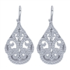 This gorgeous pair of 14k white gold diamond drop earrings feature nearly 1 carat of round brilliant diamonds gliding along sleek 14k white gold in this pair of diamond earrings.
