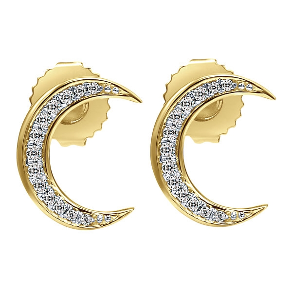 53e117701 14k yellow gold diamond moon earrings with 0.14 carats in total diamond  weight hanging from these