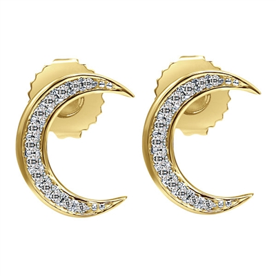 14k yellow gold diamond moon earrings with 0.14 carats in total diamond weight hanging from these celestial studs.