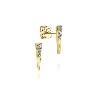 14k yellow gold diamond bar stud earrings with diamonds.