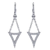 This gracefully hanging 14k white gold diamond chain drop earrings feature over one quarter carat of round diamonds.