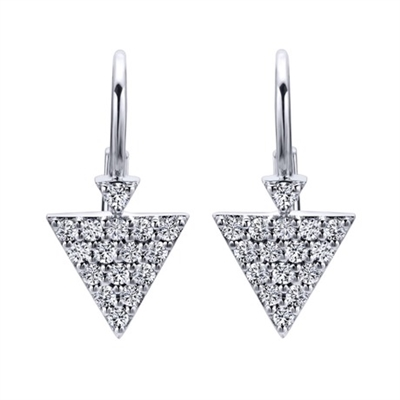 This fashionable pair of triangular hanging diamond earrings contains nearly one third carats of round brilliant diamonds.