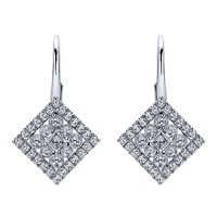 Rows of diamond shine surround a centerpiece of a bezel set round diamond in this 14k white gold pair of diamond drop earrings.