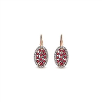 Rubies and diamonds intertwine in this colorful 14k rose gold leaver back drop earring.