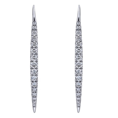 This brave pair of 14k white gold diamond dangle earrings has all the attitude and style that almost 2/3 carats of round diamonds can deliver.