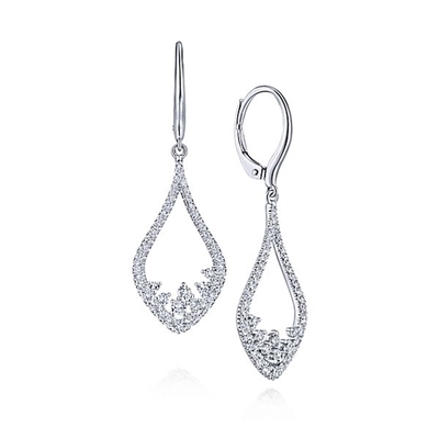 14k white gold diamond pave earrings with 0.75 carats of diamond shine.