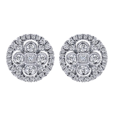 This cluster diamond studs with a halo setting are a perfect match with 14k white gold.