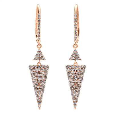These rose gold diamond drop earrings hang with over one half carat of round brilliant diamonds in a fantastic and clever set of 14k rose gold earrings.